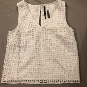 Small true white lacy tank top